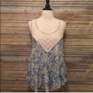 Free People Blue And White Top